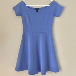 Off the shoulder A-line robin egg blue dress
